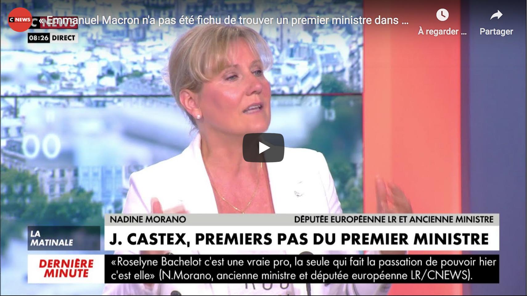 Nadine Morano : « Emmanuel Macron n'a pas été fichu de trouver un premier ministre dans sa majorité parlementaire ! » (VIDÉO)