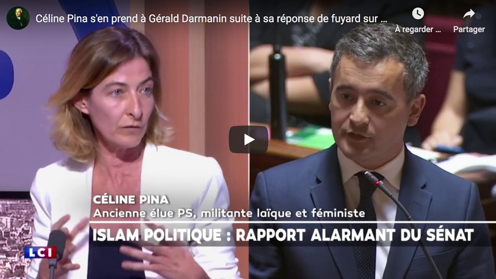 Céline Pina s'en prend à Gérald Darmanin suite à sa réponse de fuyard sur l'islamisme (VIDÉO)