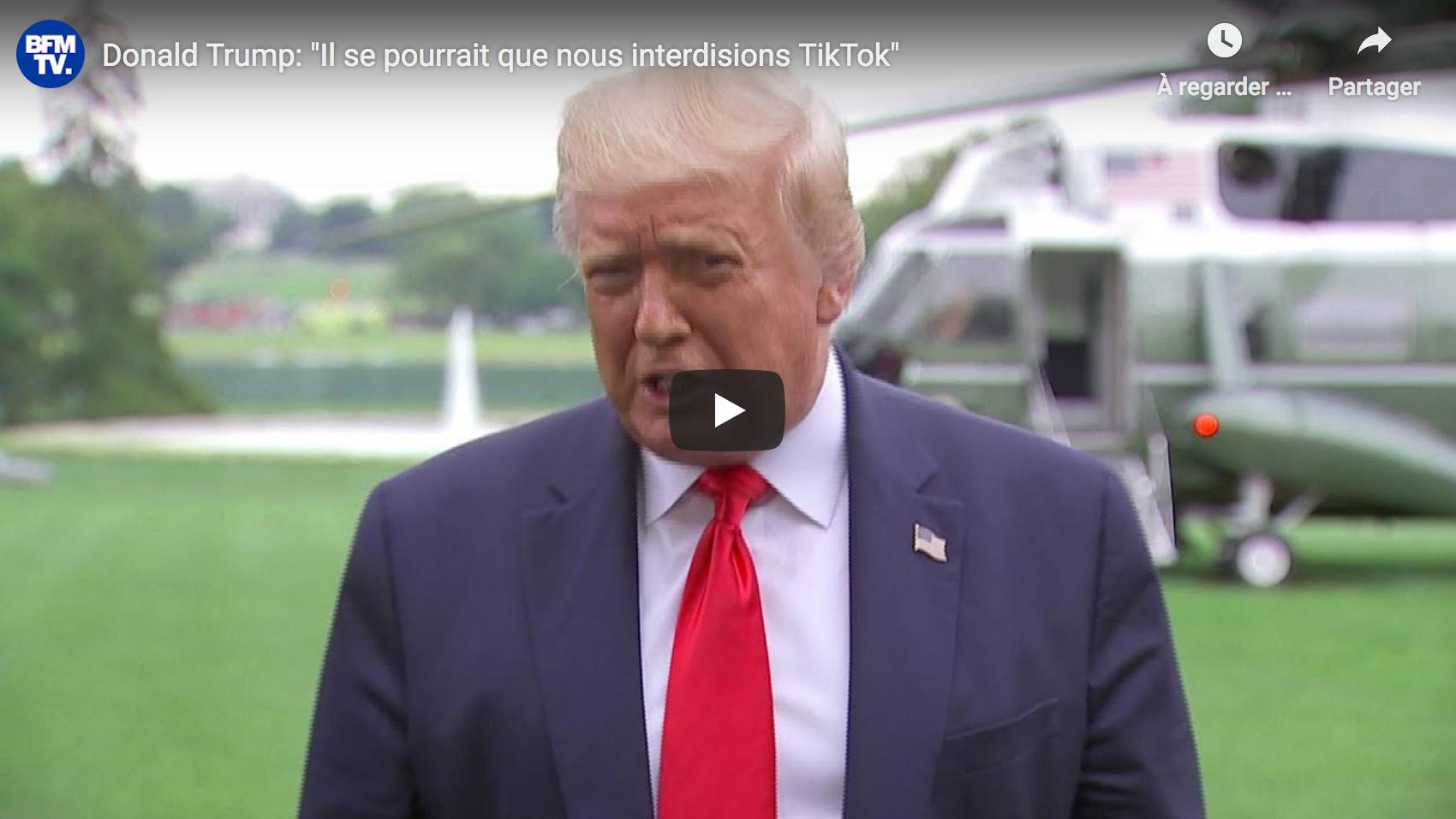 """Donald Trump : """"Il se pourrait que nous interdisions TikTok"""" (VIDÉO)"""