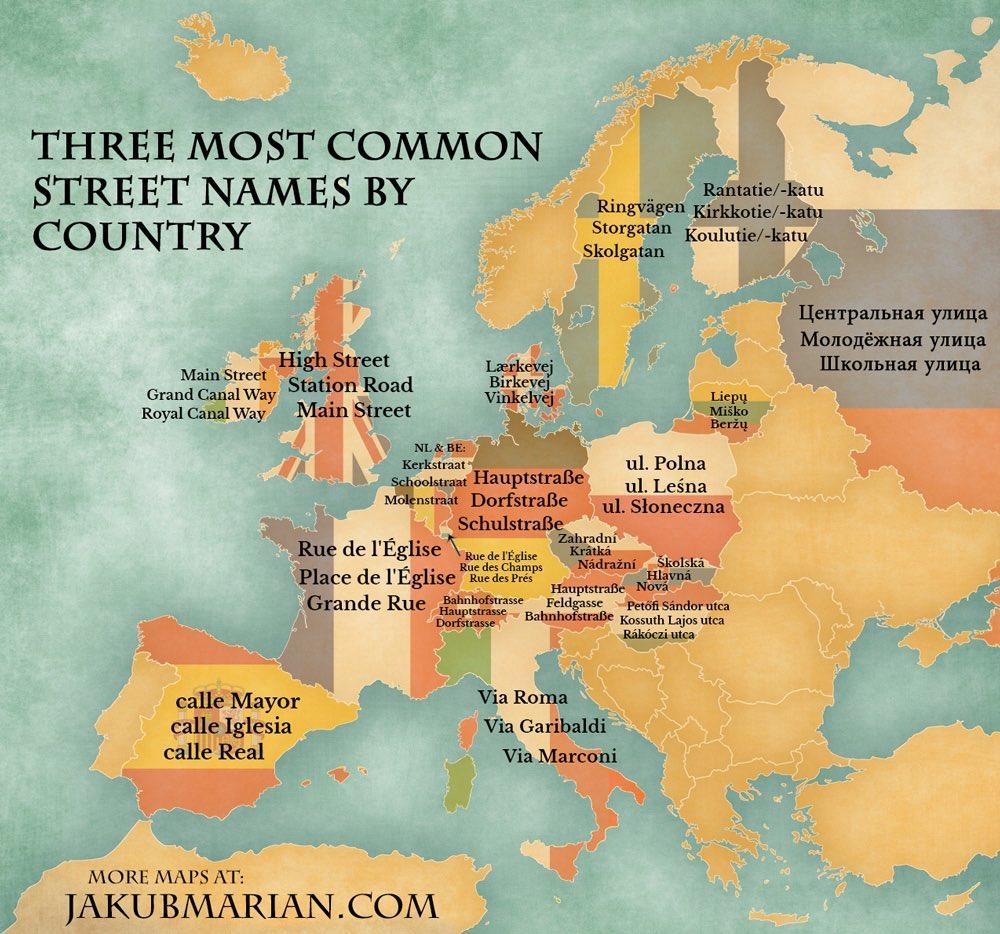 Les trois noms de rue les plus courants en France : rue de l'Église, place de l'Église et Grande Rue