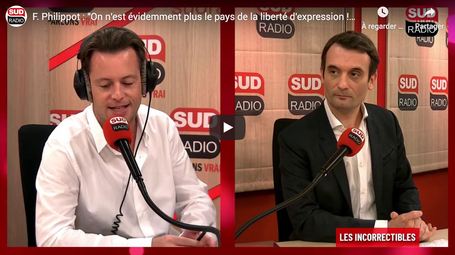 Florian Philippot : «On n'est évidemment plus le pays de la liberté d'expression !» (VIDÉO)