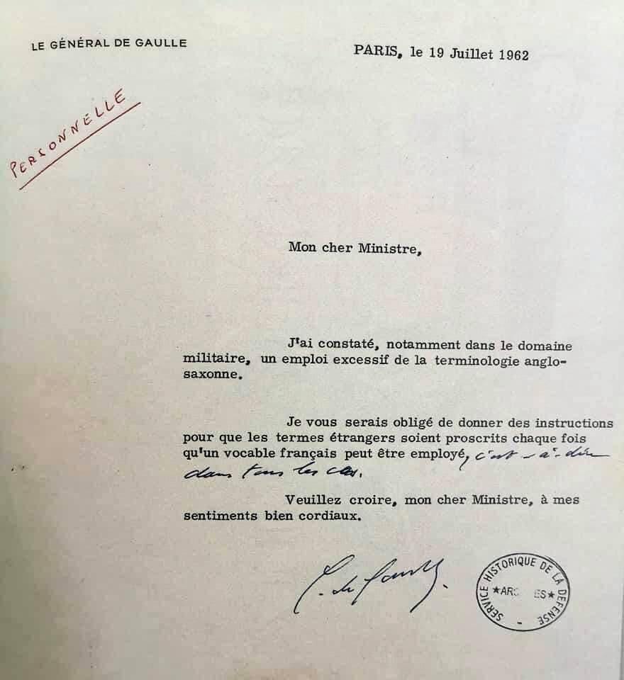 Quand De Gaulle recadrait un ministre qui utilisait trop l'anglais