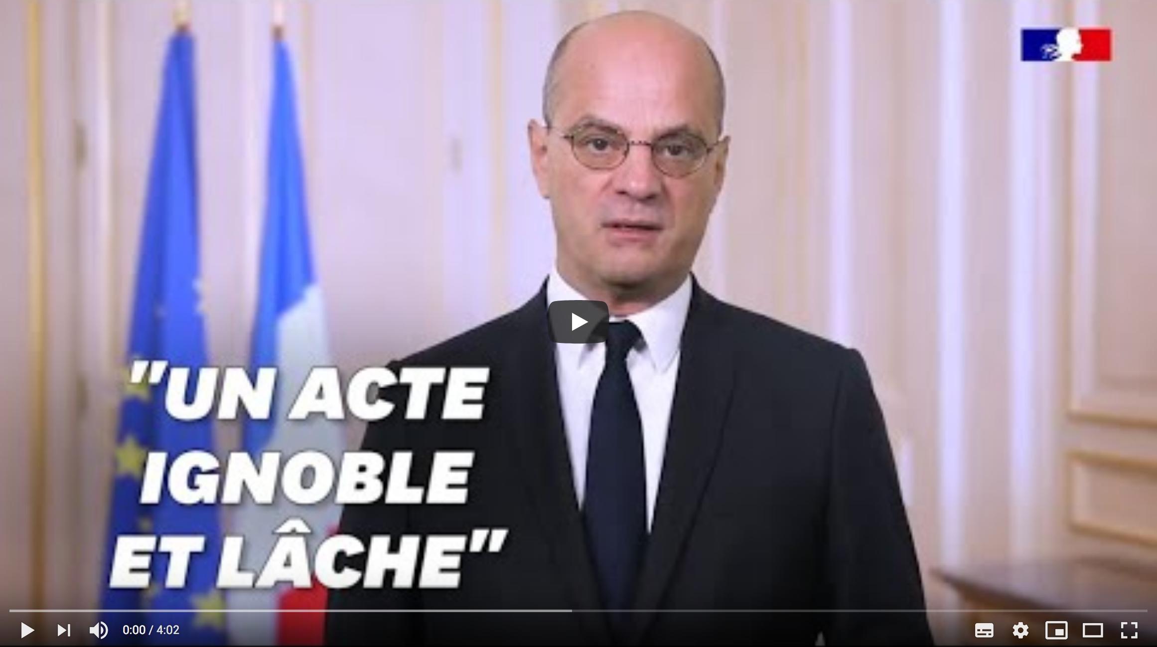 """Jean-Michel Blanquer promet de """"protéger"""" les enseignants après l'attaque de Conflans-Sainte-Honorine (sans dire comment ni promettre d'arrêter l'immigration musulmane en France)"""