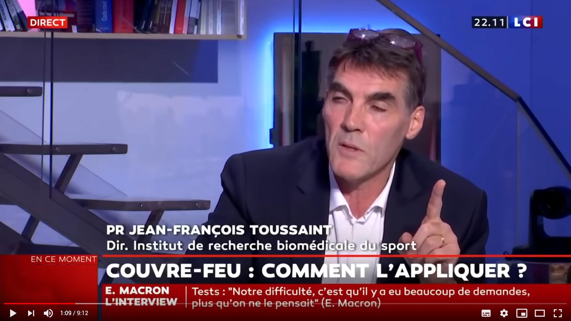 """Le Pr Jean-François Toussaint critique fortement le couvre-feu imposé par Emmanuel Macron et parle de """"dégâts monstrueux"""" (VIDÉO)"""