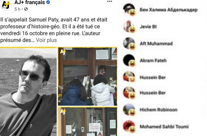 Décapitation de Samuel Paty : des centaines de jeunes islamistes s'en réjouissent sur le compte d'AJ+ (soft power qatari à destination des 18-25 ans occidentaux)