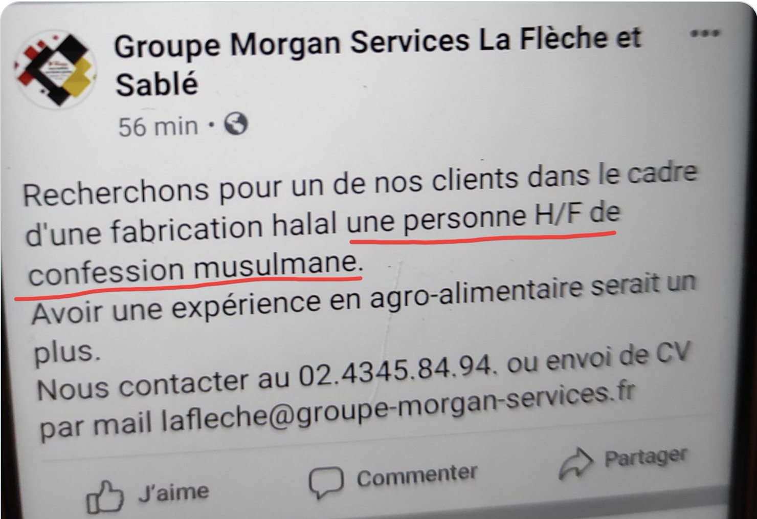 Califat de La Flèche : l'agence de travail temporaire Morgan Services discrimine ouvertement les chrétiens et les non-croyants