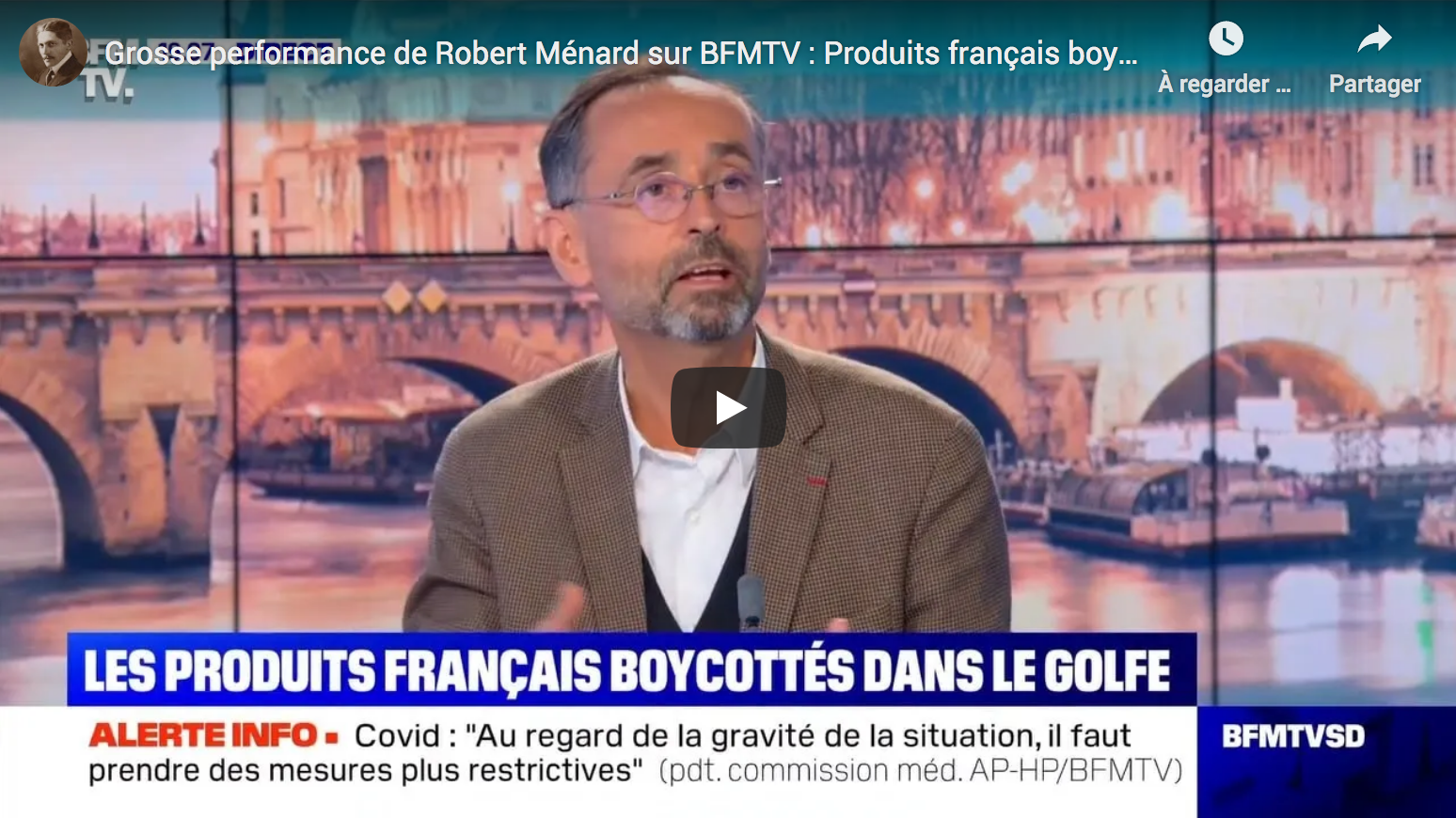 Grosse performance de Robert Ménard sur BFM TV : Produits français boycottés, Erdogan vs Macron, etc. (VIDÉO)
