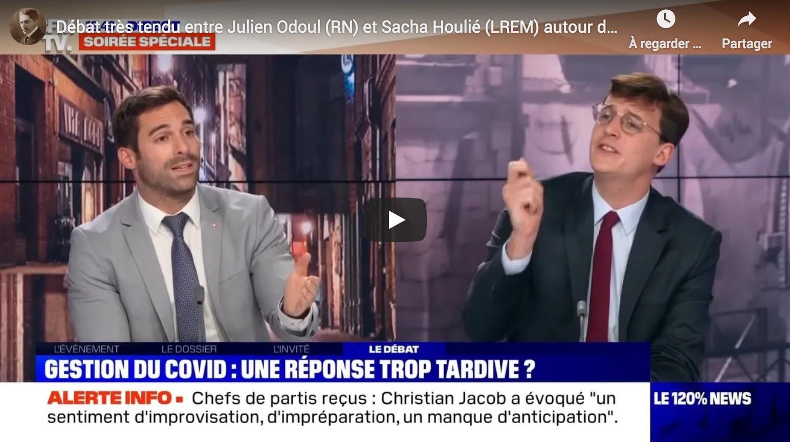 Covid-19 : Débat très tendu entre Julien Odoul (RN) et Sacha Houlié (LREM) autour du reconfinement (VIDÉO)