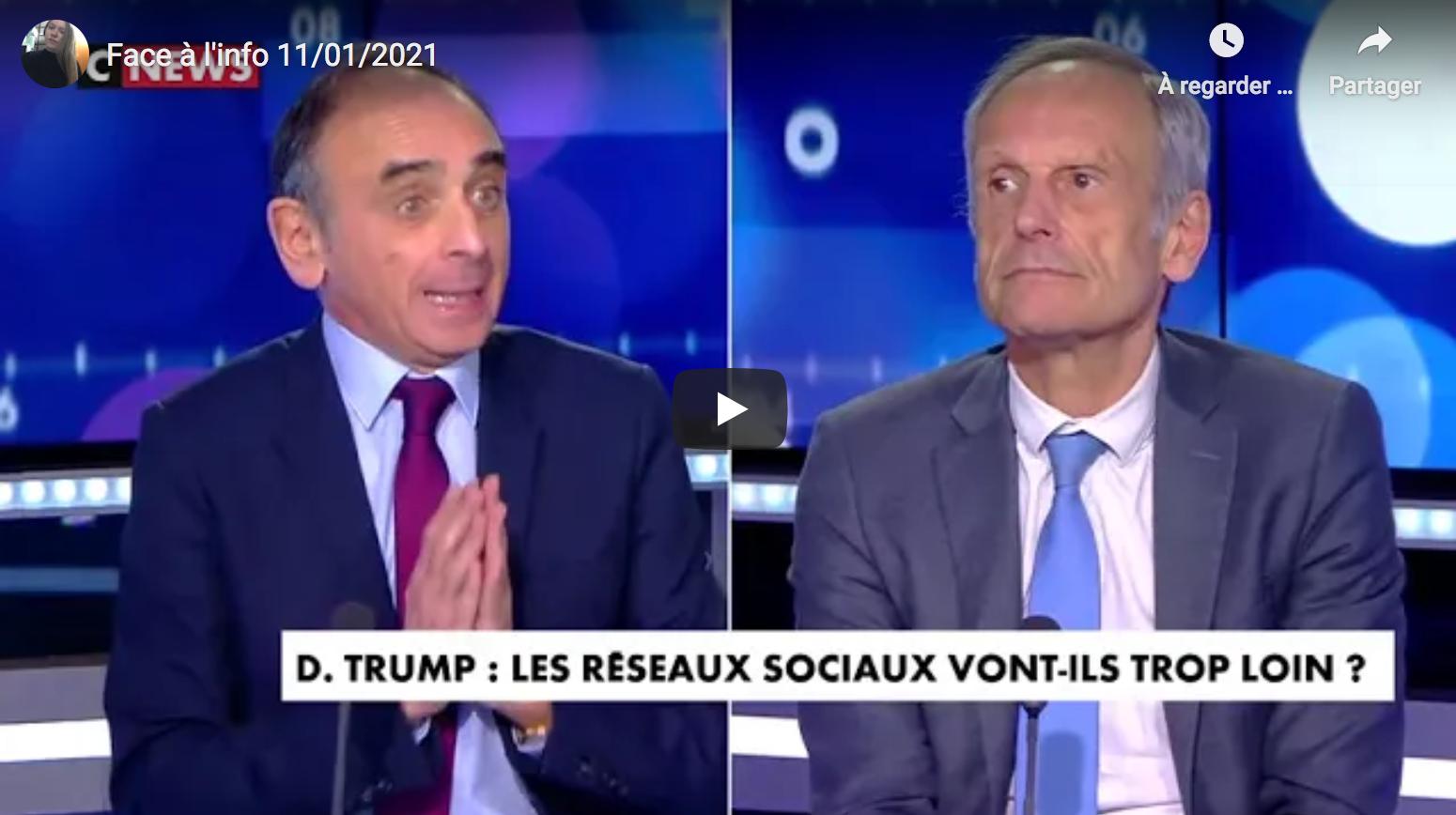 """""""Face à l'info"""" spécial censure de Donald Trump par les réseaux sociaux et chasse aux partisans du président, avec Éric Zemmour (VIDÉO)"""