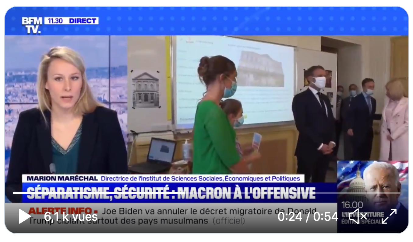 """Marion Maréchal : """"En France en 2021, on en est à devoir batailler politiquement pour que les organisations islamiques se mettent d'accord dans une charte pour ne pas condamner l'apostasie… »"""