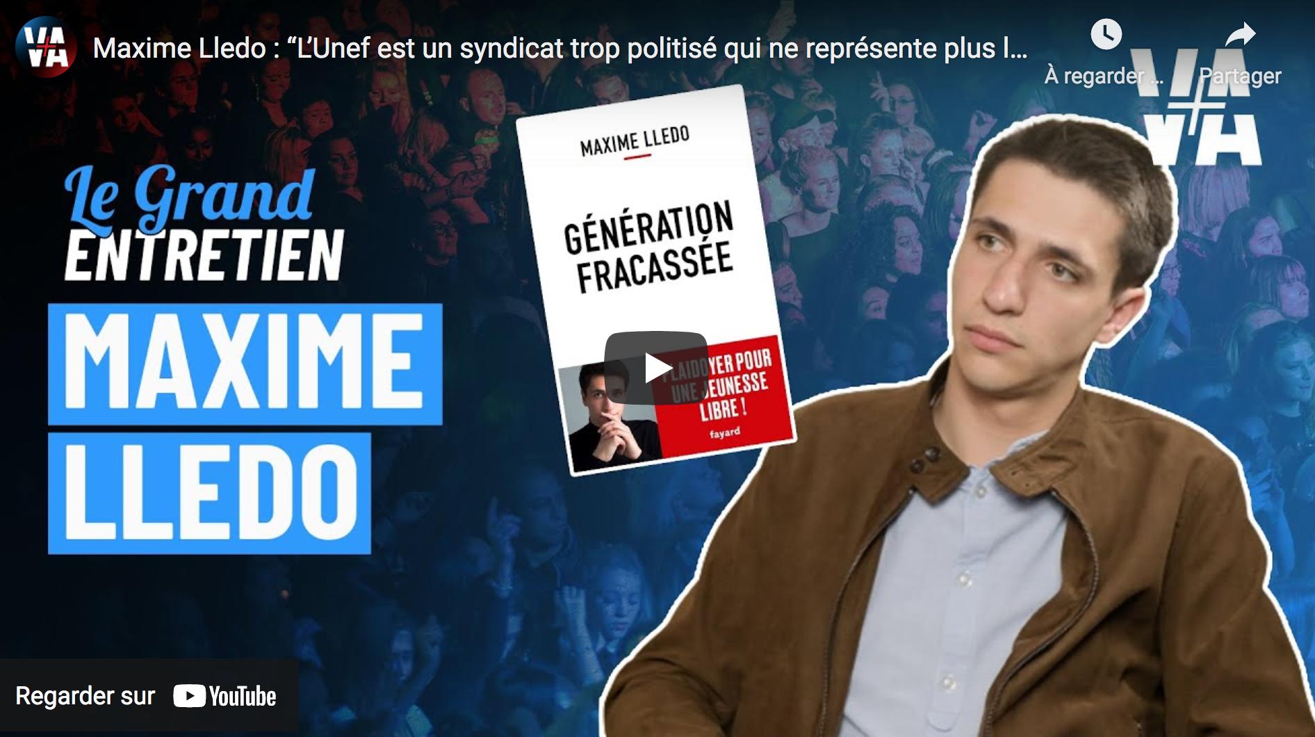 """Maxime Lledo : """"L'Unef est un syndicat trop politisé qui ne représente plus la jeunesse"""" (VIDÉO)"""
