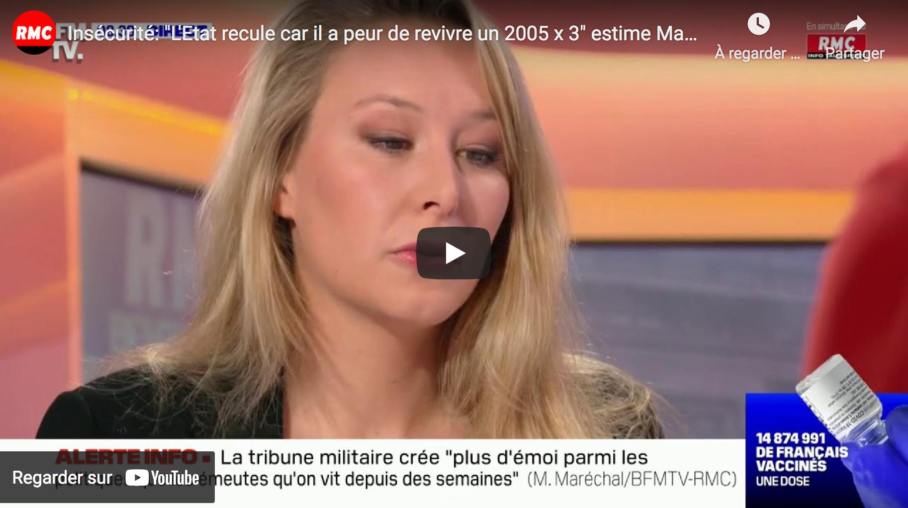 """Insécurité : """"L'État recule car il a peur de revivre un 2005 x 3"""" estime Marion Maréchal (VIDÉO)"""