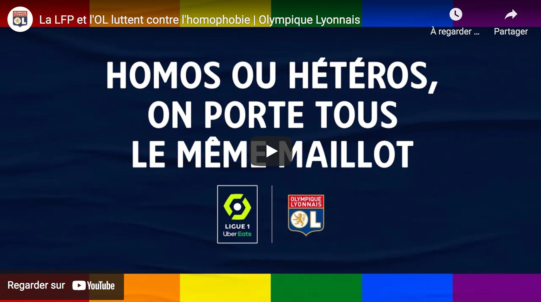 Olympique lyonnais : Propagande homofolle avec des gentils immigrés, des femmes tolérantes et des hommes blancs agressifs et vulgaires (VIDÉO)