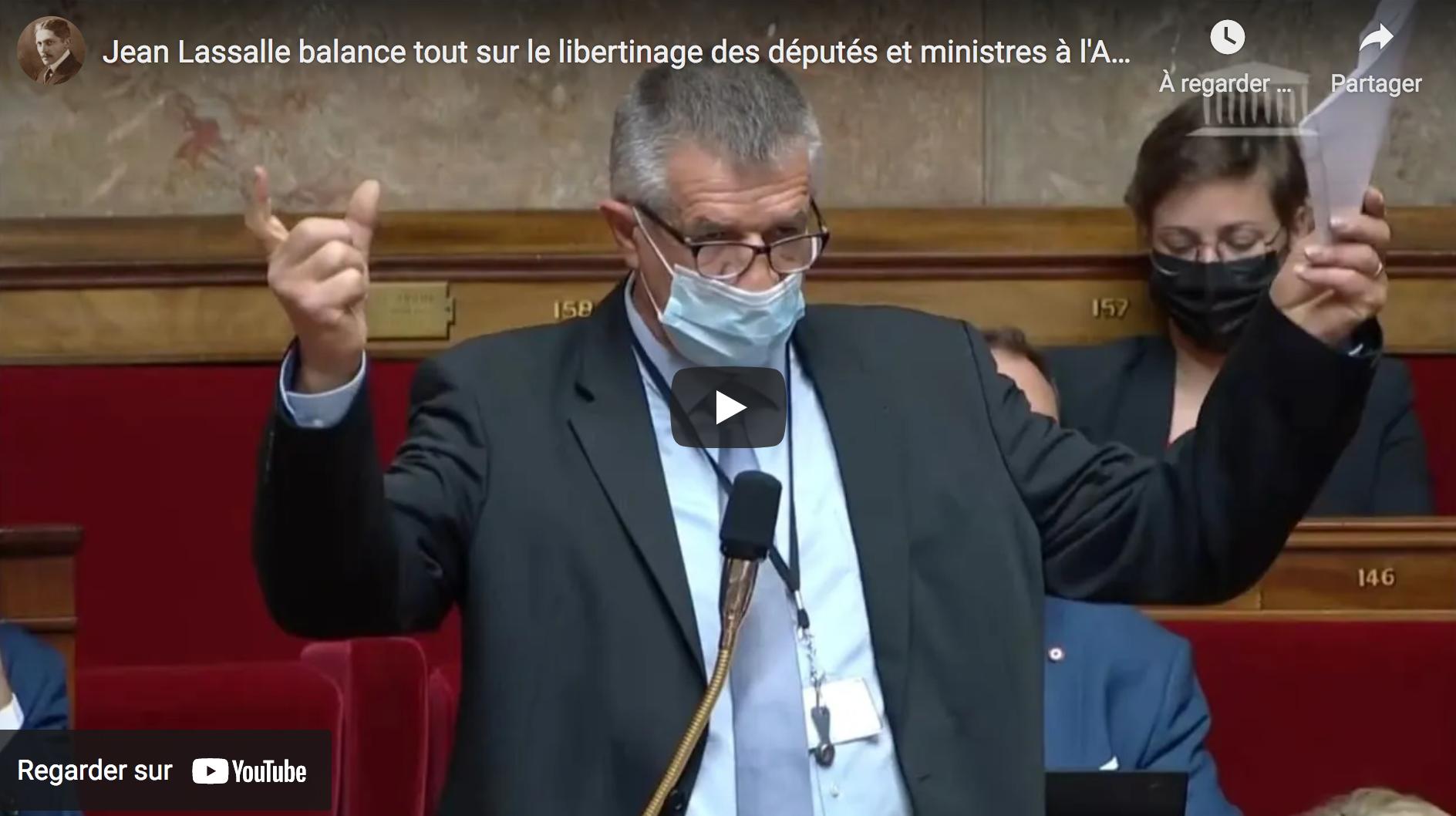 Jean Lassalle balance sur le libertinage des députés et ministres à l'Assemblée nationale (VIDÉO)
