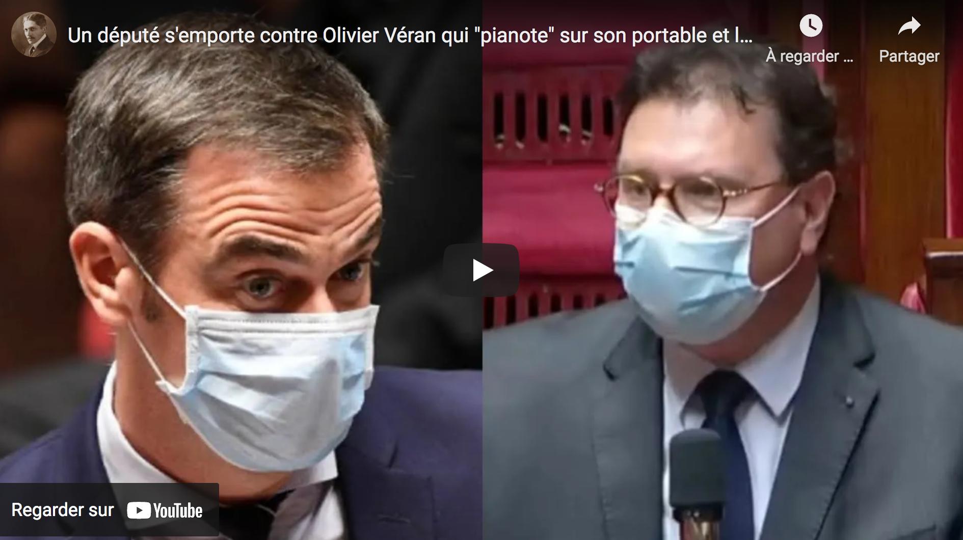 """Un député s'emporte contre Olivier Véran qui """"pianote"""" sur son portable et le recadre à l'Assemblée Nationale ! (VIDÉO)"""
