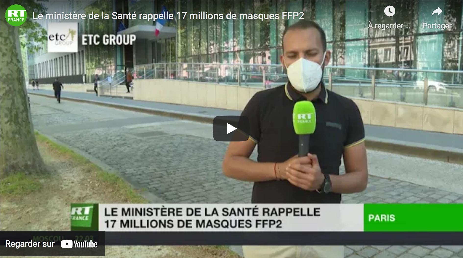 Le ministère de la Santé rappelle 17 millions de masques FFP2