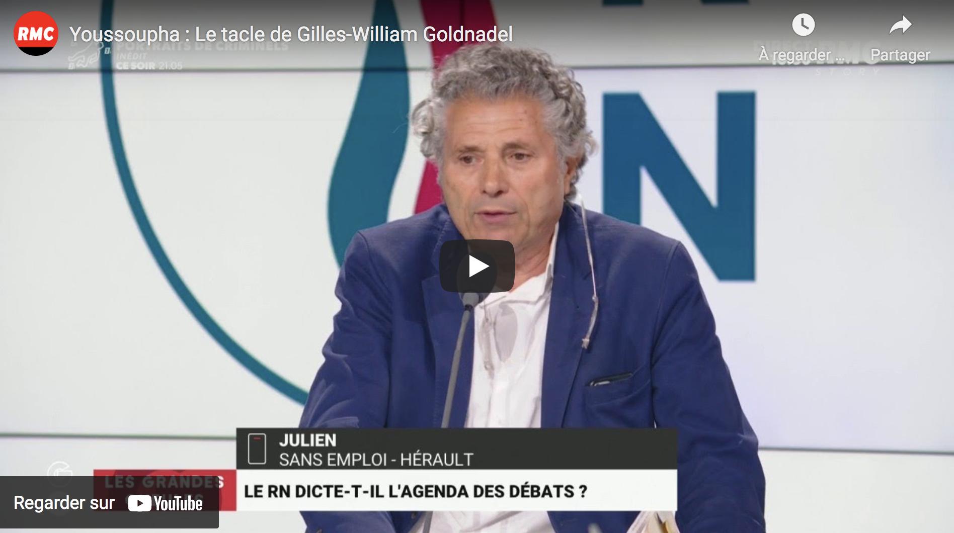 """""""Youssoupha"""" (sic) : Le tacle de Gilles-William Goldnadel (VIDÉO)"""