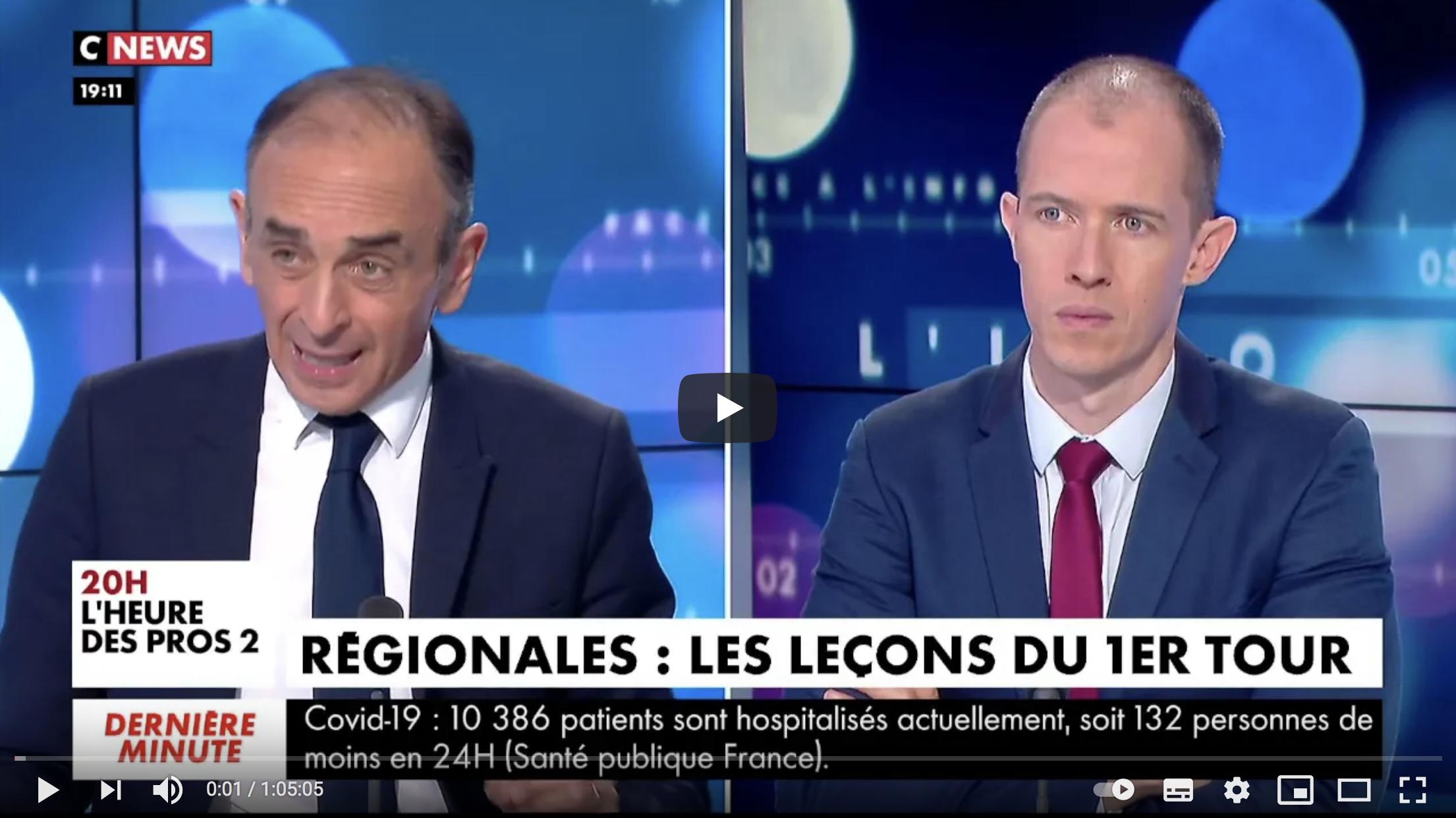 """Éric Zemmour dresse un bilan du premier tour des régionales 2021 : """"Marine Le Pen a abandonné tout ce qui faisait la spécificité du RN, même sur l'immigration"""" (VIDÉO)"""