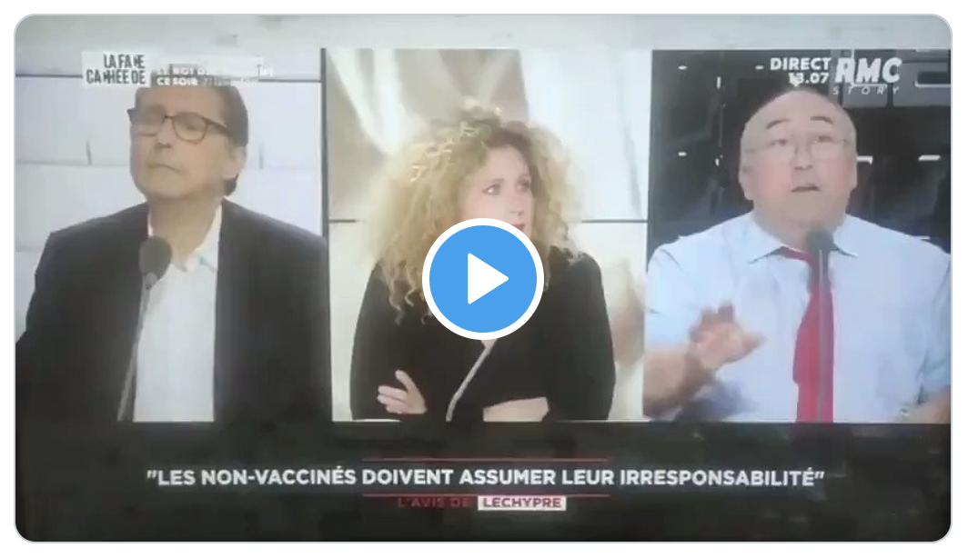 Devant un Laurent Neumann lui-même choqué, le journaliste extrémiste Emmanuel Lechypre appelle à faire arrêter les anti-Big Pharma et à les piquer de force (VIDÉO)