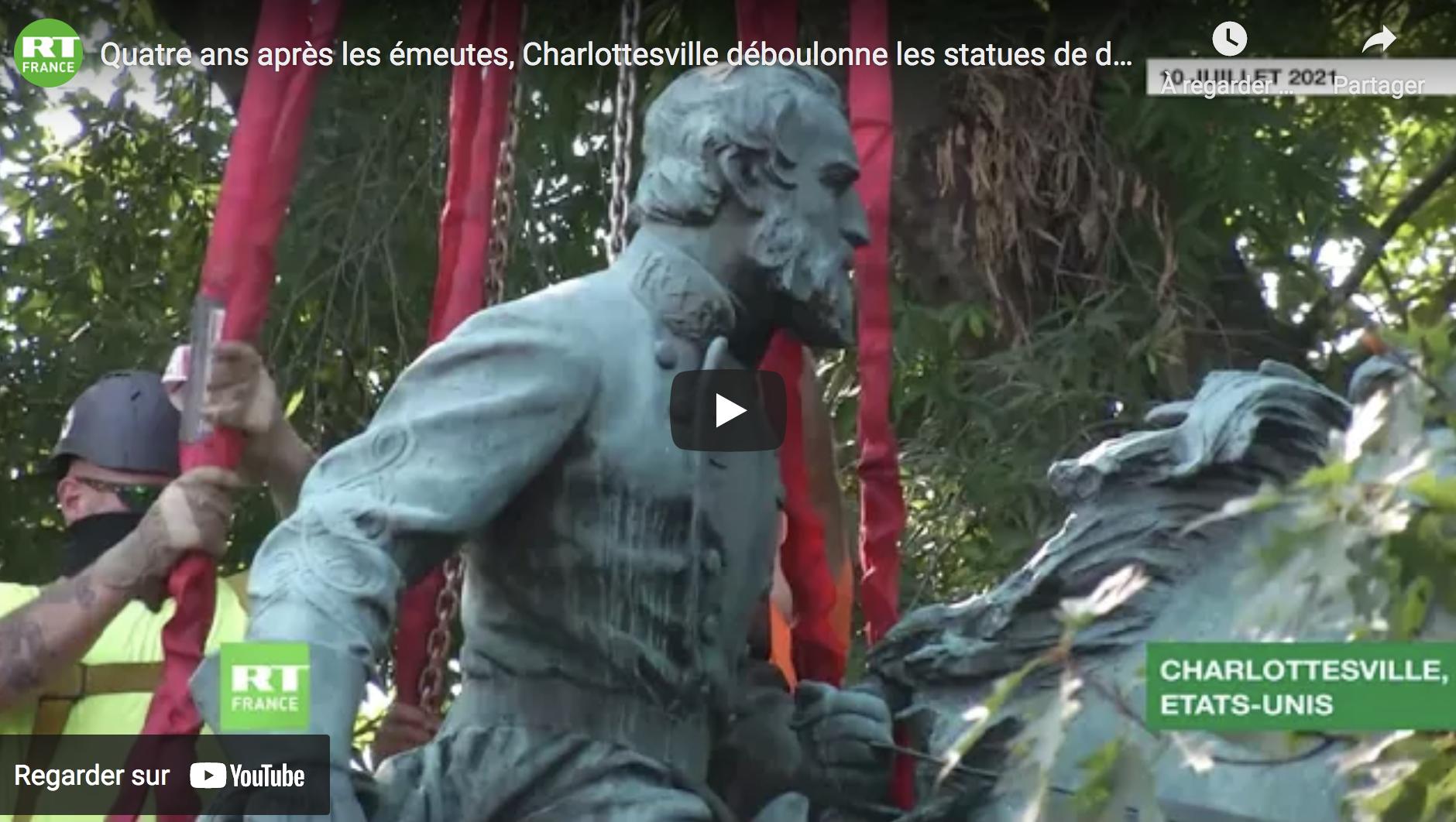 Quatre ans après les émeutes et sur ordre de la gauche, Charlottesville déboulonne les statues de deux généraux confédérés (VIDÉO)