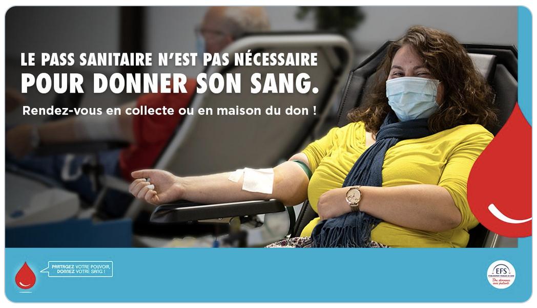 Rappel de l'Établissement français du sang : le pass sanitaire n'est pas nécessaire pour donner son sang