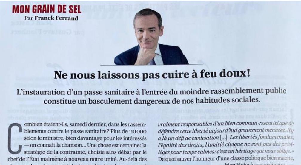 Pass sanitaire : l'appel à la résistance de Franck Ferrand (Valeurs Actuelles)