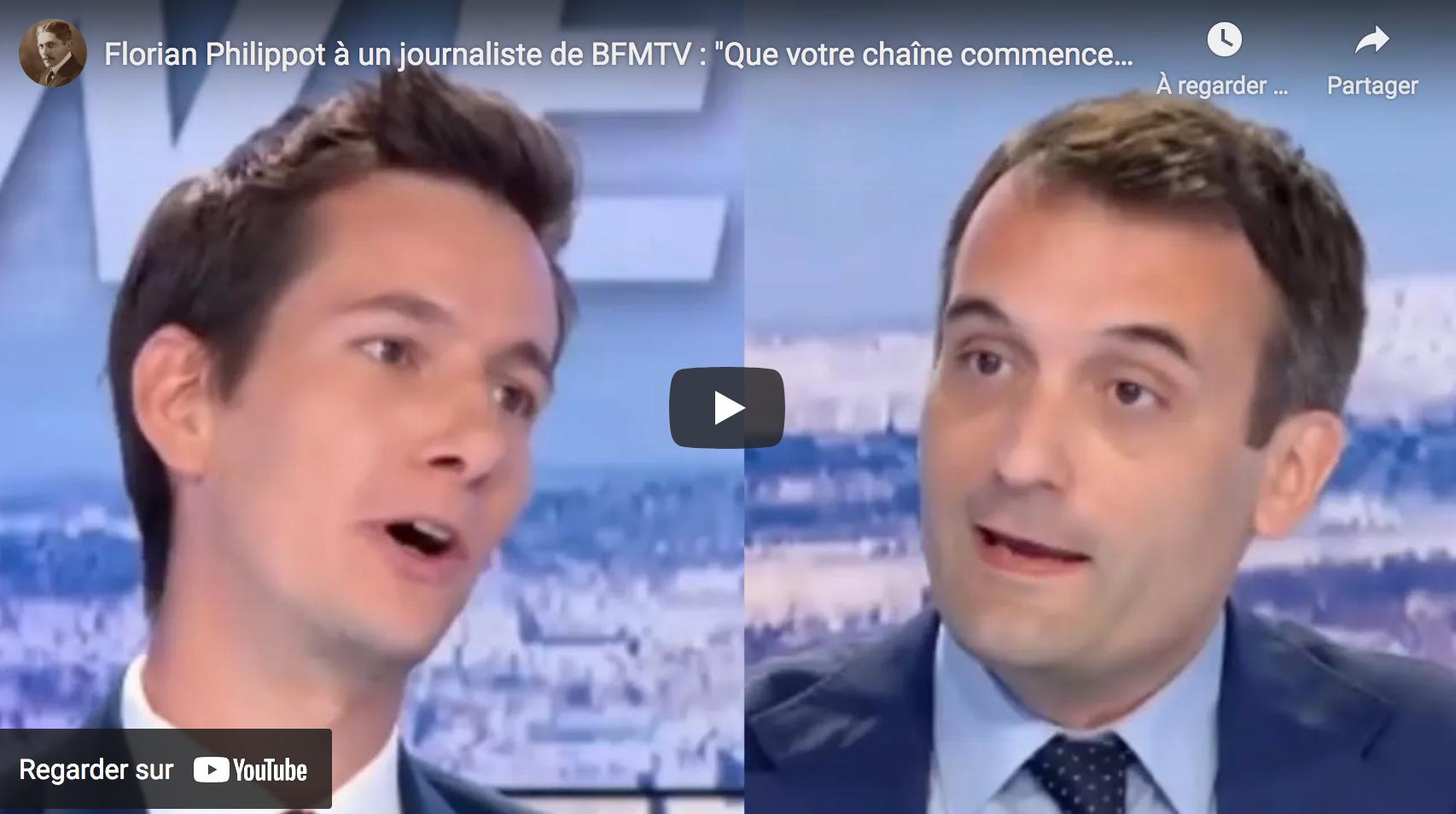 """Florian Philippot à un journaliste de BFMTV : """"Que votre chaîne commence à se poser des questions !"""" (VIDÉO)"""