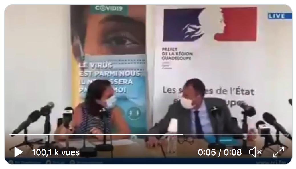 Le préfet de Guadeloupe avant la conférence de presse dicte le ton à la directive de l'ARS, ne se sachant pas enregistré : « On adopte un ton grave et catastrophique ! » (VIDÉO)