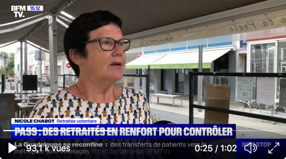 Vendée : la vieille Boomeuse Nicole Chabot joue au flic et va contrôler bénévolement les passes sanitaires à l'entrée d'un restaurant (VIDÉO)