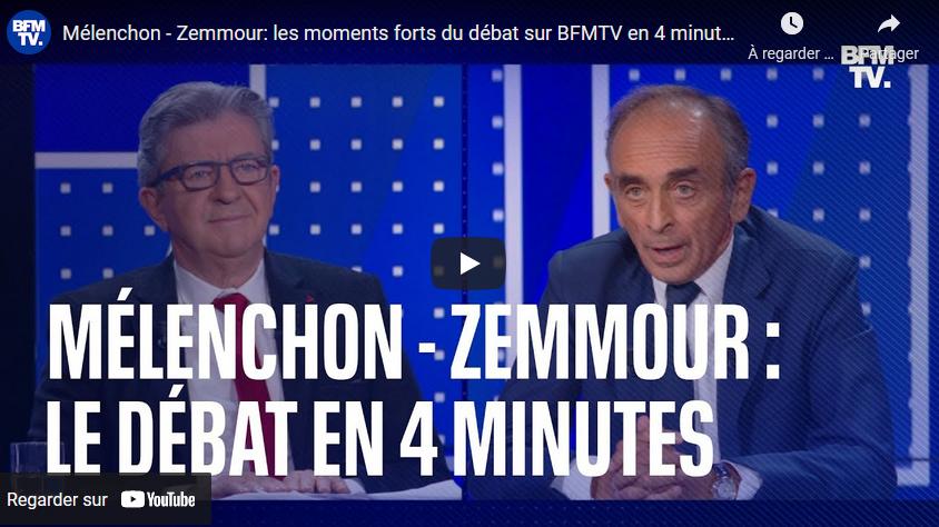 Mélenchon VS Zemmour : les moments forts du débat + l'intégralité (VIDEOS)