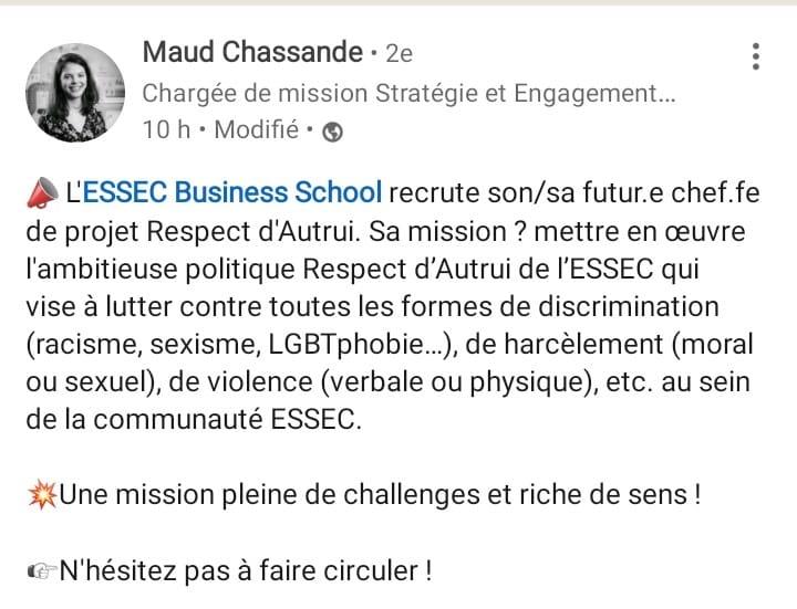 L'ESSEC recrute son-sa dénonciateur-trice / en chef-fe des comportements déviants / persécuteur-trice de la majorité aux ordres des minorités